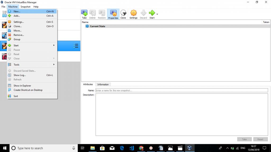 VirtualBox menu Create new machine