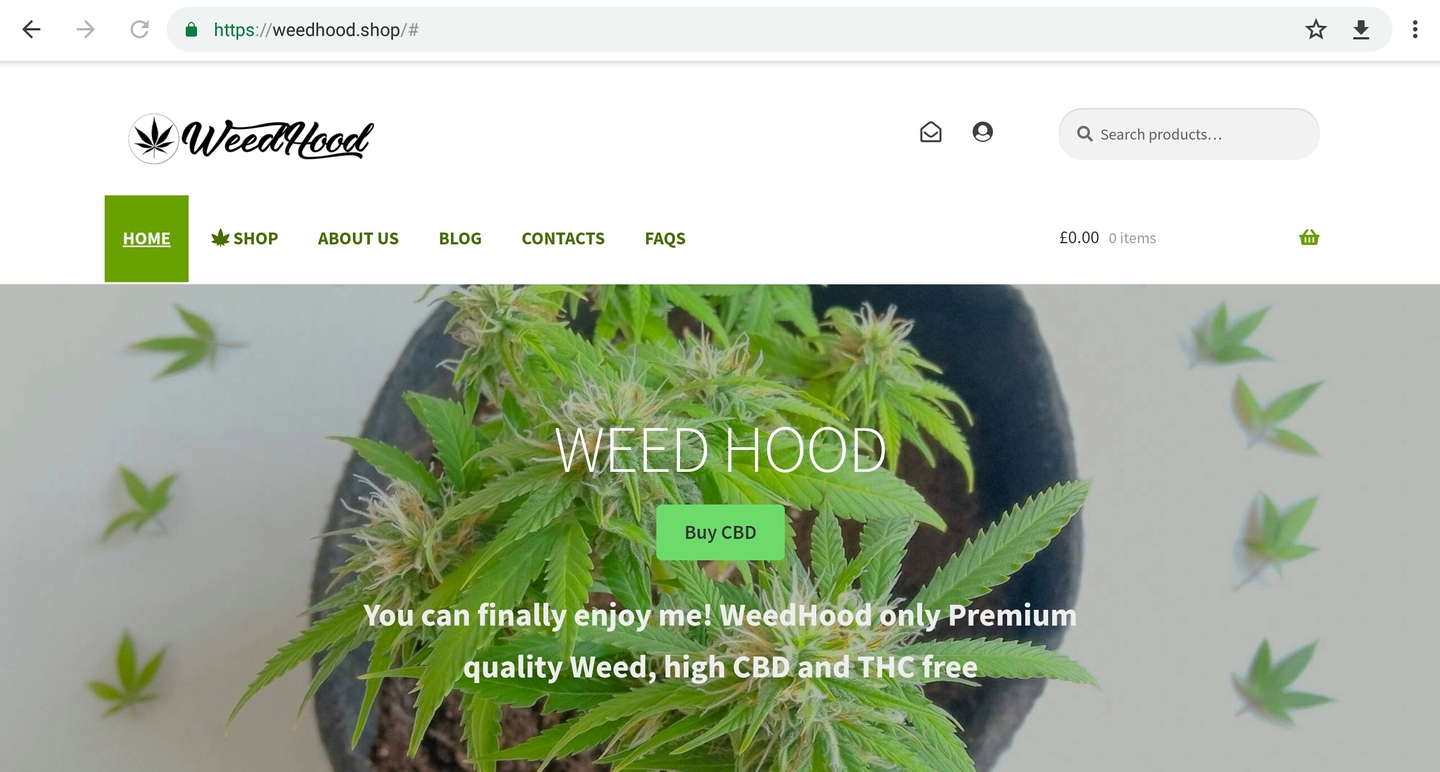 WeedHood website home