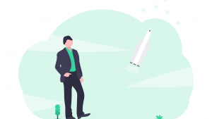 business green hosting performance rockets in the sky image