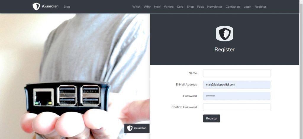 iGuardian Registration Page