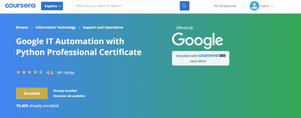 Learn Python Google IT Automation Course Page on Coursera