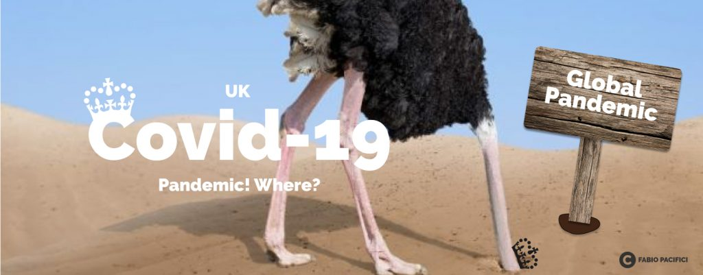uk covid-19 pandemic - ostrich hiding head under the sand