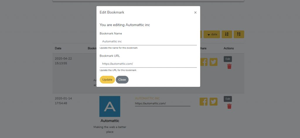Bookmarker Update Link Screen